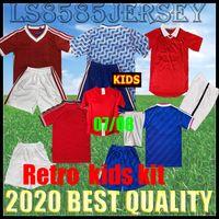 Kids Kit Retro 1984, 1990 1992 1998 2007 2008 UTD Soccer Jersey Scholole 84 86 90 92 99 00 07 08 United Boys Устанавливает домашнюю футболку 1998 года
