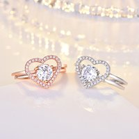 2in1 Cubic Zirconia Ring Band Combination splicing Open Adjustable Hollow Heart Rings stacking Women Girls Fashion jewelry will and sandy