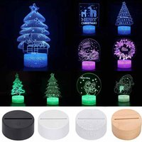Christmas gift 3D LED Night Light Colorful Changing Touch Remote Table Base Lamp Xmas Decoration for Kids Child
