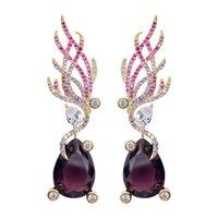 Angelo Ali orecchini per le donne viola goccia d'acqua penzolare gioielli cubic zirconia design di marca femmina lusso orecchino di lusso