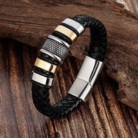 Charm Bracelets 9 Styles To Choose Genuine Leather Cool Black Gold Creative Design Stainless Steel Magnetic Buckle Men's Bracelet