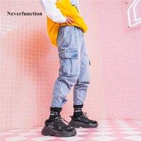 Kot Artık Fonksiyonlu Erkekler Moda Çok Cep Yüksek Kalite Katı Erkek Streetwear Hip Hop Denim Desenler Kalem Pantolon