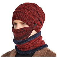 3PC set Hat Scarf And Mask Adult Men's Windproof Thickened Knitted caps Warm Cycling Eindproof Ear Wool cap Riding Sets