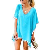 Chiffon nappe spiaggia indossare donne costume da bagno coperta su costumi da bagno costumi da bagno estate mini abito sciolto solido pareo ups # F35 donne