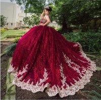 Glitter Burgundy Tulle Quinceanera Dresses 2022 Long Train Beading Cap Short Sleeves Keyhow Backless Gold Appliques Sweet 16 Party Dress