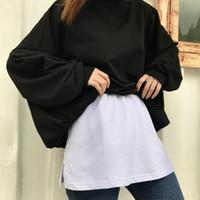 스커트 2021 Womens 가짜 셔츠 밑단 밑단 밑단 탄성 허리 하프 슬립 후드 스웨터 익스텐더 헴 라인 여성 모든 매치 스커트