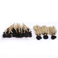Virgem Europeia cabelo solto ondulado 3 pacotes promoções loira ombre cabelo com orelha para orelha lace fechamento frontal anuty funmi cabelo loiro
