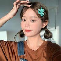 Hair Clips & Barrettes 2021 Korean Summer Sweet Cute Retro Fashion Colorful Plaid Small Bear Resin Handmade Hairpin For Women Daily Jewelry