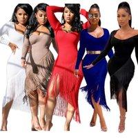 Повседневные платья bkld bodycon сексуальные асимметричные подол кисточки платье женщины тонкий сплит рождения вечеринка бахрома длинные 2021 осенний рукав