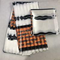 Wyprzedaż Sprzedaż Dobra cena Afryki Wosk Wydrukuje Tkaniny 2 + 4yardów Satynowy Jedwab z tkaniną Organza Dopasowanie tkaniny Ankara Printorganza