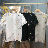 2021 Yeni Yaz Avrupa Tasarımcı Boyama Baskı T Gömlek Erkek Mektup Baskı Kısa Kollu T Shirt Moda Tişört T-shirt Pamuk Rahat Tee