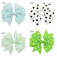 Ribbon Bow Dot Girls Hairpins Colorful Children Hair Clip Boutique Kids Girls Bow tie Kids Hair Accessories 20 Colors Exquisite
