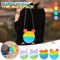 Neuester Regenbogen Push Blase Bag Back Kinder Erwachsene Neuheit Zappeln Einfaches Spielzeug Sensory Toys Taschen Fingerblasen Spiel 496