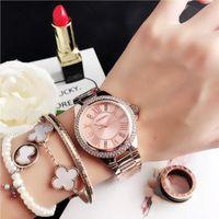 Женщины Часы Мода Diamond Design Серебряный Круглый Циферблат Нержавеющая Сталь Группа Кварцевые Наручные Часы Золотые подарки RelogiSfeminino Наручные часы