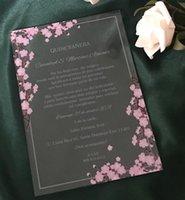 Greeting Cards Wedding Acrylic Invitations,Pink Flower Invite,Acrylic Quinceanera Invitations,Custom 10pcs Blossom Cherry Sweet 80th Invitat