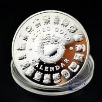 50pcs Mexico Mayan Aztec Calendario Art Profecy Cultura Sfida Metallo Argento Placcato Replica Coin Colibleblebles