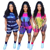 Women's Tracksuits Two Piece Sets Wholesale Items Short Sleeves Round Neck Tie Dye Print Tops Elastic Waist Straight Pants Casual Women Clot