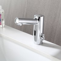 automatic smart basin faucets induction taps deck mounted poilshed full copper chrome mixer water cold&hot ac 220v electric  dc battery saving power