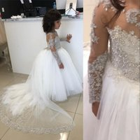 2021 Cute White Flower Girls Dresses For Weddings Jewel Neck Lace Appliques Crystal Beads Long Sleeves Tulle Kids Birthday Girl Pageant Gowns