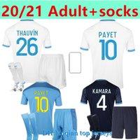 الكبار + الجوارب مارسيليا لكرة القدم جيرسي أولمبيك دي 20 21 أم مايلوت أطباق القدم Thauvin Benedetto Kamara Payet Shirts Men + Kids Kit