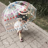 Kinder Regen Getriebe Pagode Transparente Regenschirm lange Griffe Gerader Spitzenkarikaturauto Bunte Polka Dots Lächeln Gedruckt Sonne Regenschirm 761 V2