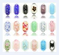 100 unids / lote mezcla estilo Murano Lampwork Glass European Beads Charm Pulsera Collar para la joyería de artesanía de DIY C21 *