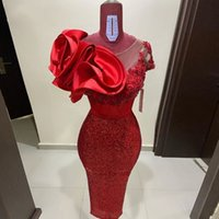 Red Cocktail Dresses sheer illusion neck Ruffled Satin foral flower beaded Lace Sequined Short Prom Dress Mermaid Knee Length Women Formal evening Gowns