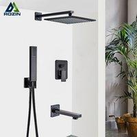 "Black Bronze Concealed Bath Faucets Set 12"" Brass Rainfall Shower Head Single Handle Mixer Tap Bathroom"