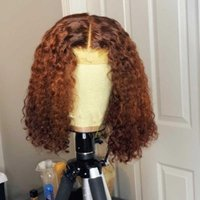 Lace Wigs Part Human Hair Curly Short Bob 180% Brazilian Wig Orange Frontal For Black Women