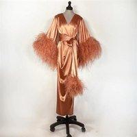 Wraps & Jackets Feather Wedding Shawls Sleepwear Po Robe With Belt Soft Silk Satin Night Gown For Women Long Sleeve Custom Made Woman Pajama
