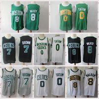 2021 Hommes à prix bas rétro Jersey de basketball Jaylen 7 Marron Vintage Jayson 0 Tatum Kemba 8 Taille Walker S-2XL Blanc Blanc Blanc Vert