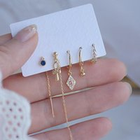 5pcs Fashion Brand Jewelry 14K Real Gold Knot Stud Earrings For Women Gift Shining Zircon Set