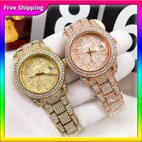 Reloj de moda para hombres Hombres de 36 mm Diseño de acero inoxidable relojes Shinning Diamante Out Relojes Movimiento de cuarzo Reloj de pulsera deportiva Envío gratis
