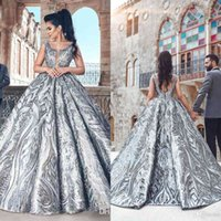 Zuhair Murad Ball Gown Evening Dresses 2020 V Neck Backless Luxury Formal Prom Gowns Fashion Silver Party Dress Custom Made
