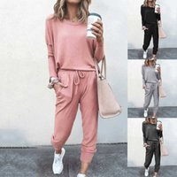 Women's Casual Long Sleeve Loose Fit Jumpsuit O neck Elastic Waist Beam Foot Jumpsuit Stretchy Romper with Pockets Basic 2 piece pants