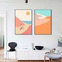 새로운 그림 추상 산 포스터 일몰 해변 사이클링 캔버스 그림 노르딕 벽 아트 인쇄 서핑 morden 그림 생활 ewd7723