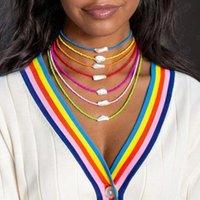 Collar de gargantilla de perlas de verano para mujeres Boho Hecho a mano Colorido Clavícula con cuentas Collares Playa Fiesta de joyería Accesorios
