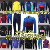 FC Barcelona 운동복 트 레이 닝 복 방 풍 재킷 바 트랙 슈트 스웨터 세트 겨울 자켓 축구 유니폼 2020 2021 Messi Ansu Fati 남자 키트 SurveeMent Tracksuit 훈련 축구 셔츠