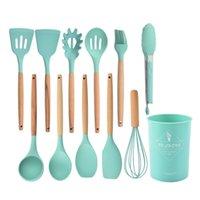 Kitchen Tools Wooden handle ware silicone 1 set=12 Piece non-stick pot shovel spoon Gift Set 6 Colors