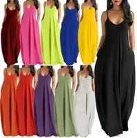 Summer New Designer round neck women's solid color sleeveless vest Pocket long skirt fashion 11 colors Hot selling Floor-length skirt S M L XL XXL