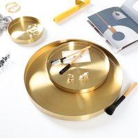 Nordic Style Gold Stainless Steel Metal Round Tray Flat Bottom Large Tea Cosmetics Jewelry Storage Plate
