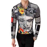 6xl 19 لون الأزياء بوتيك طباعة عارضة يتأهل رجل قميص بأكمام طويلة / الراقية العلامة التجارية الاجتماعية الرجال نادي حفلة موسيقية