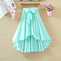 Skirts 2021 Women Spring Summer Vintage Pleated Long Skirt Female Lace Up High Waist A Line Chiffon Lady Casual Solid Faldas E578