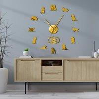ساعات الحائط كبير diy الفن ملصقات الكلب الحيوانات الأليفة العملاقة ساعة ووتش جوردون ستير الفنان كبير الرجعية ديكور المنزل هدية