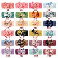 golden velvet tie dyed nylon child hairs accessor bow hair band lovely soft baby headbands ornament headdress 24 colors 9233