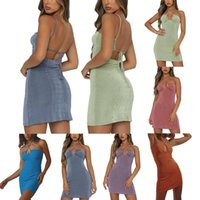 Casual Dresses 2021 Female Summer Simple Solid Color Sleeveless Spaghetti Strap Package Hip Slip Dress For Ladies, S M L