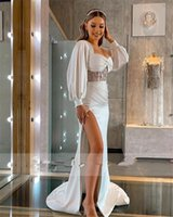 2021 Sexy Frong Split Mermaid Wedding Gowns Long Sleeves Sweetheart Neck Sweep Train Garden Country Bridal Party Dresses Vestido De Novia