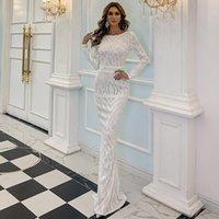 Casual Dresses Prom Wedding Evening Party Dress Women Elegant Long Sleeve O Neck Sequin Bodycon 2021 Autumn Night Club Maxi