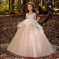 Girl's Dresses Blush Princess Girl Dress Lace Flower Puffy Tulle Children 2021 Crystal Belt Gowns