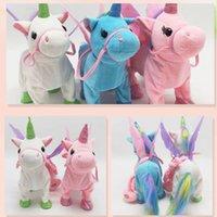 35 cm caminar eléctrico unicornio de peluche juguete divertido juguetes de peluche animal cantando inglés Muñeca de música para niños Regalos de Navidad
